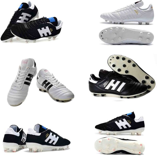Mens Copa Mundial Leather FG Soccer Shoes 70Y FG Soccer Cleats 2019 World Cup Football Boots Black White Orange botines futbol shoes