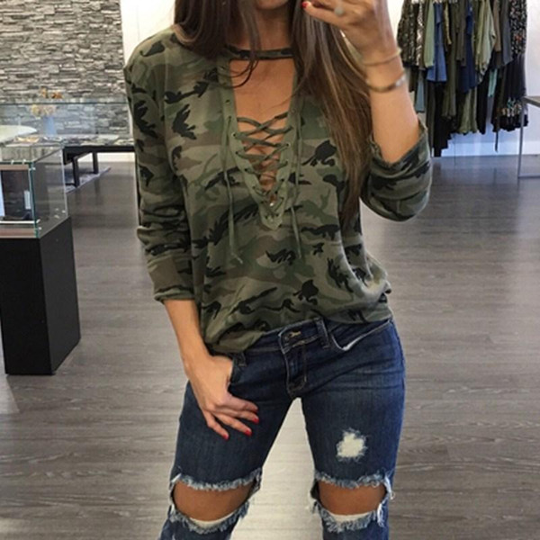 best selling Hot Camouflage Print Blouses new Autumn Women Shirts Ladies Sexy Long Sleeve Hollow Out Lace Up V Neck Casual Tops Blusas
