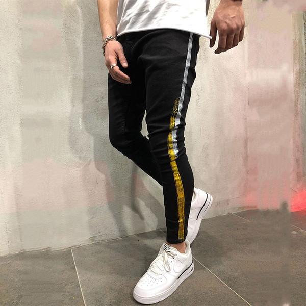 Cor preta dos homens Magro Destruído Calças de Ganga Rasgadas Tendência Magro Pés Impressos Calças Jeans Calças Hip Hop Calças Streetwear Jeans Homens