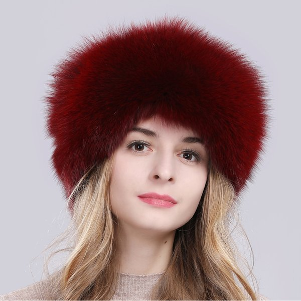 2019 women russia winter real fox fur hat warm soft fluffy genuine fox fur cap luxurious lady quality real fox fur bomber hats