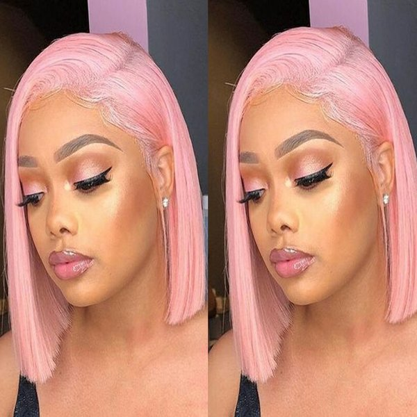 Pink Bob Lace Front Short Human Hair Wigs For Black Women Bob Straight Brazilian Virgin Hair Short Full Lace Wigs With Baby Hair