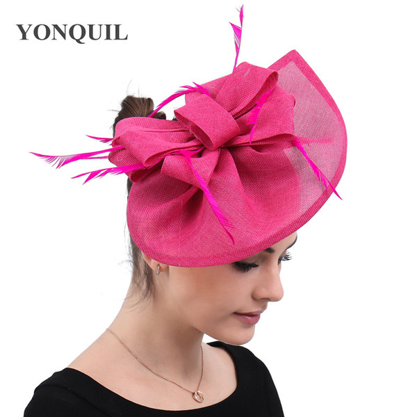 Hot pink church hair fascinators for wedding hats ladies elegant party occasion wedding headwear feather hair accessories free ship SYF572