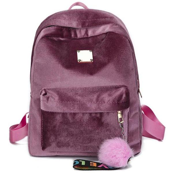 Velour Bag Women School Bags Velvet Lady Casual Pretty Cute Bag Travel