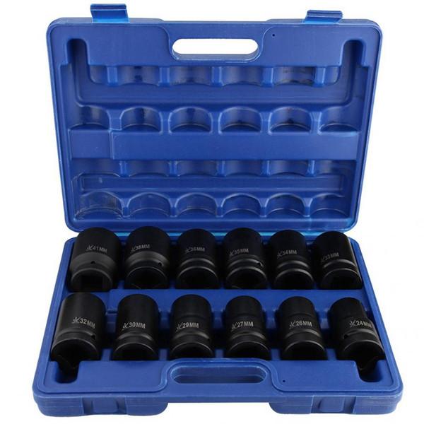 12pcs 1 pouce Disque Durable Deep Impact Socket Set 24-41mm impact voiture Socket acier au chrome vanadium