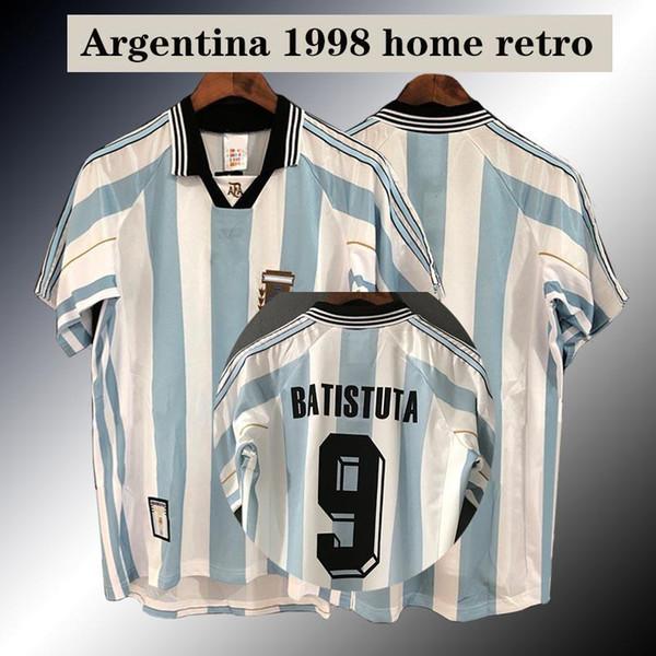 Arjantin 1998 Retro ev futbol forması ZANETTI Batistuta PINEDA ORTEGA Klasik anma 98 Dünya Kupası futbol forması Retro