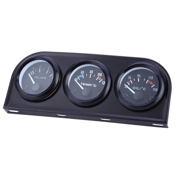 B735 52MM 3 en 1 medidor de autos Calibrador automático Temperatura del agua Sensor de presión de aceite Kit triple