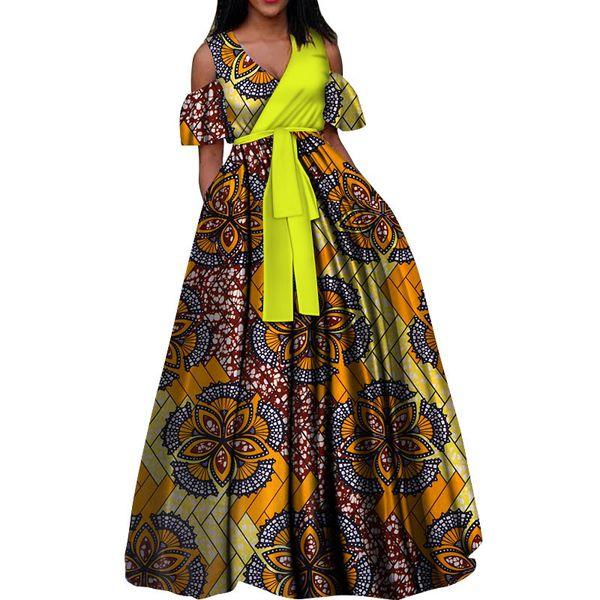 Fashion African Wax Print Dresses for Women Bazin Riche 100% Cotton V-neck Tutu Dress Vestidos African Design Clothing WY3376