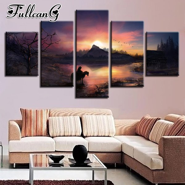 wholesale 5 piece diy 5d diamond painting sunset natural scenery full square/round drill mosaic embroidery picture decor FC717