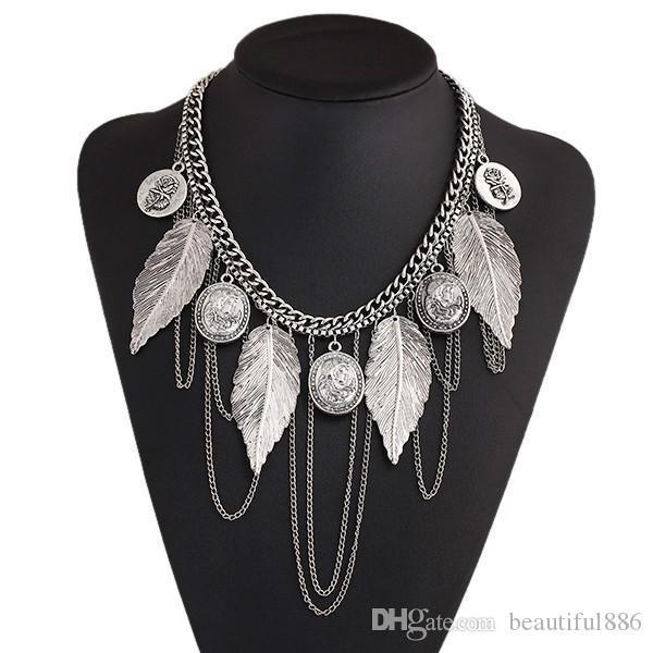 Nuevo diseño caliente moda encanto Vintage gargantilla collar moneda redonda borla de hoja de rosa cadena collares declaración para mujeres