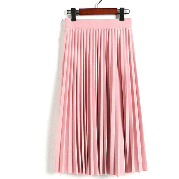 Spring Autumn Fashion Women's High Waist Pleated Solid Color Half Length Elastic Skirt Promotions Lady Black Pink