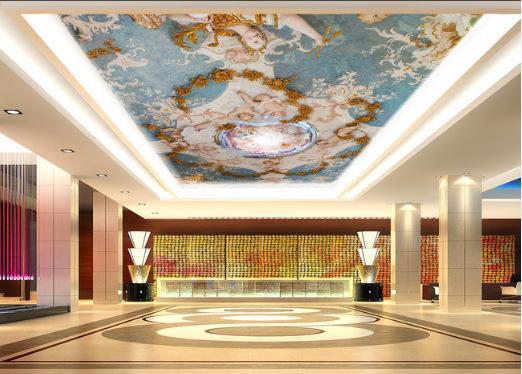 3D pintura a óleo caráter europeu, grande mural, adequado para papel de parede da sala de estar, bar do hotel KTV teto anjo-bebê projeto papel de parede
