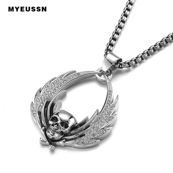 Skeleton Skull Pendant 316L Stainless Steel Wing Iced Out Zircon Gothic Men Necklace Jewelry Fashion Father's Day Gift Hip Hop