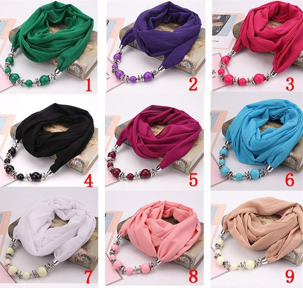 2019 Spring and Autumn Brand New Fashion Pendant Scarves Classic Ethnic National Resin CCB Beads Plain Chiffon Wrap & Scarf Wholesale LSF087