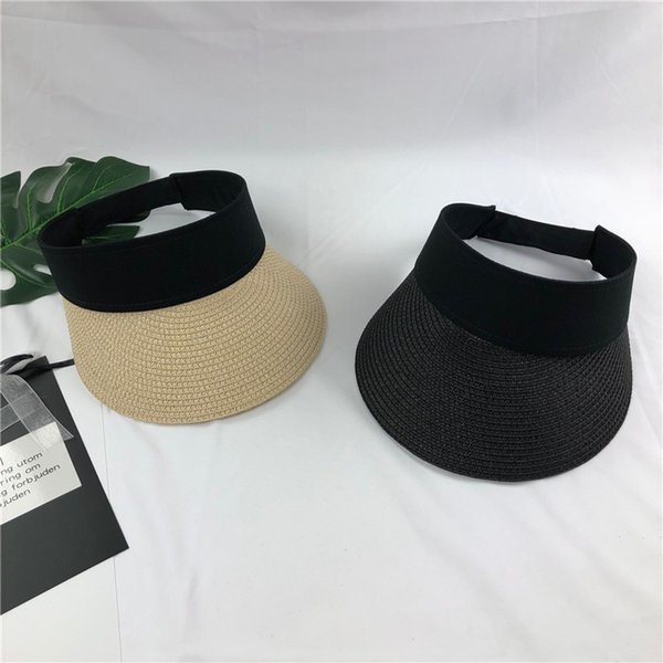2019 New Simple Summer Straw Sun Hat Women Pearl Backable Sun Visor Hat with Big Heads Wide Brim UV Protection female cap