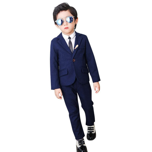 New Baby Boy Suit For Wedding Piano Party Teenage Boys Blazer+Pant+Shirt+Tie 2/4Pcs Kids Boys Suits Formal Clothing Sets Y179