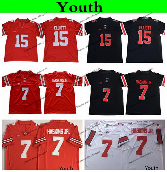 2019 Jugend Ohio State Buckeyes College Football Jersey Home Rot Kinder 15 Ezekiel Elliott 7 Dwayne Haskins Jr. Genähte Fußballhemden S-XL