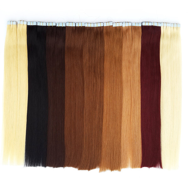 Online sales Charismatic Tape Hair Extensions Skin Weft Tape Hair Brazilan Straight Best Quality Remy Human Hair 12-24inch 20 colors