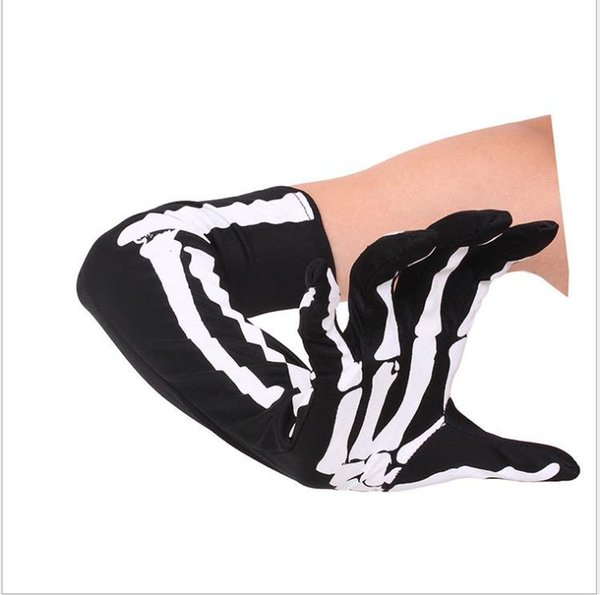 New fashionable hip-hop skull personality in the long men and women's universal glove props uniform hand bones long white sleeve
