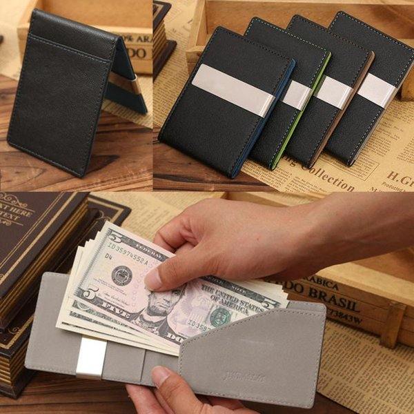 Wholesale-Splendid Hot Designer Famous Brand Mens Black Leather Magic ID Holder Money Clip Wallet Hombre de negocios Carteras