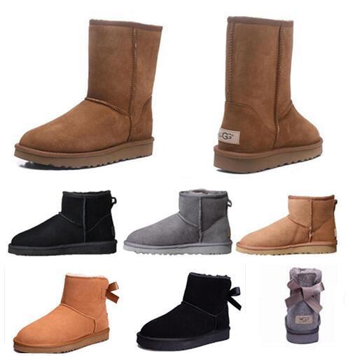 Bottes pour femmes de haute qualité WGG marque classique bottes femmes bottes bottes de neige bottes d'hiver bottes en cuir certificat certificat sac à poussière drop 35-43