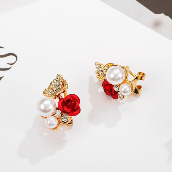 1 Par de Espumante Brilhando Cristal Rhinestone Mulheres Brincos Menina Pear Rose Wedding Ear Rings Presente Jóias