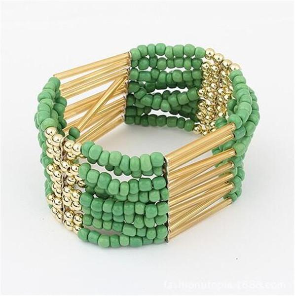 Nuevo estilo de Bohemia de la borla de la vendimia del grano de múltiples capas de Sumy chapado en oro de la pulsera de 8 colores de moda del abrigo del grano de la resina de las pulseras de los brazaletes Hombres Mujeres