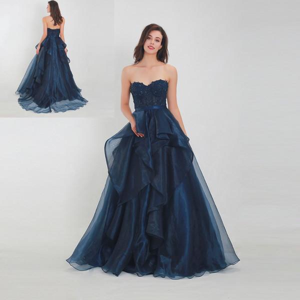 2019 Armada azul atractivo del Organza Volantes una línea de vestidos de noche vestidos de baile amor atractivo barrido personalizado Apliques de tren de encaje vestidos de noche