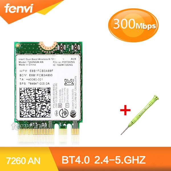 etworking Сетевые карты Dual Band Wireless-N для Intel 7260NGW AN 7260 NGFF Wi-Fi Bluetooth 4.0 Mini WLAN Card Поддержка HP / Asus / Acer / Dell / T ...