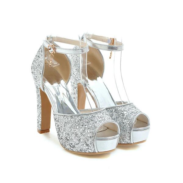 QUTAA 2019 Women Sandals Peep Toe Fashion Women Shoes Platform Wedding Shoes Super Thick High Heel Women Sandals Size 34-43