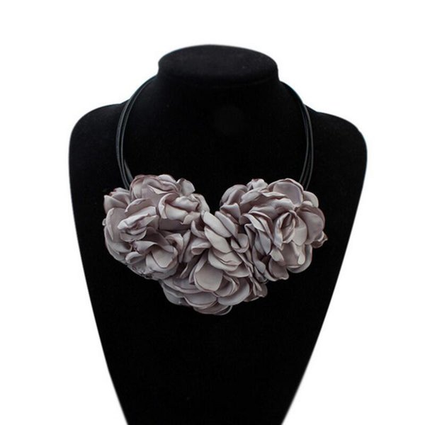 1 Piece New Cute Fashion Bohemian Fabric Rose Flower Choker Necklace Women Statement Necklace Vintage Nice Gift N801