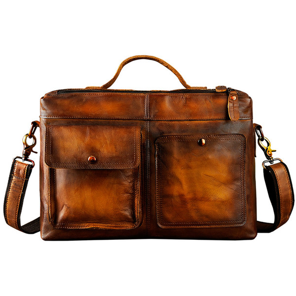 Mens Original Leather Design Business Briefcase Laptop Bag Professional Executive Portfolio Lawyer Portfolio Messenger Bag 2119d