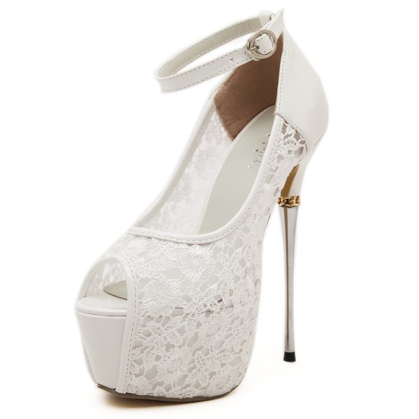 Women's Lace Flower Strappy Hollow High Heels Bridal White Lace Wedding Shoes Designer Shoes Ankle Strap Heels