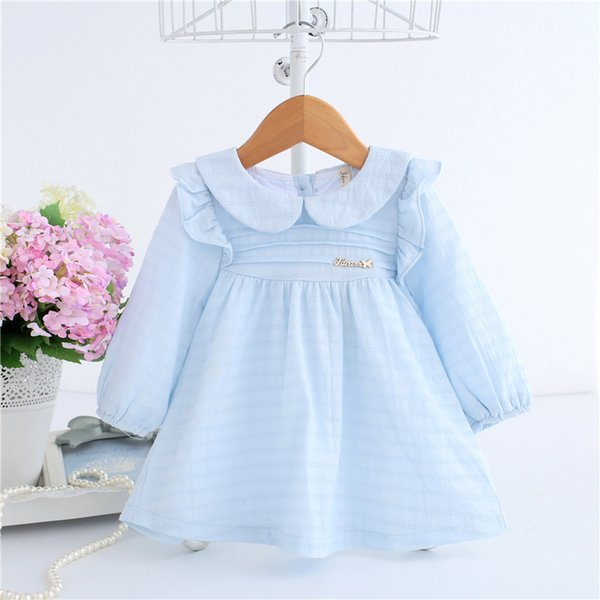 2019 Spring A-line Peter Pan Collar Kids Baby Princess Dress Newborn Infant Baby Girls Party Dresses Baby Clothes 0-2t 2 Color MX190719