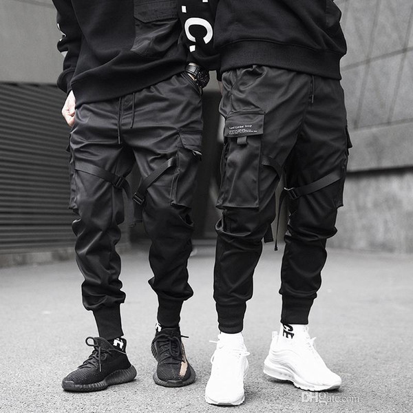 Hommes rubans Color Block Noir Pocket Cargo Pantalons 2019 Harem Joggers Harajuku Sweatpant Hip Hop PANTALON-2XL