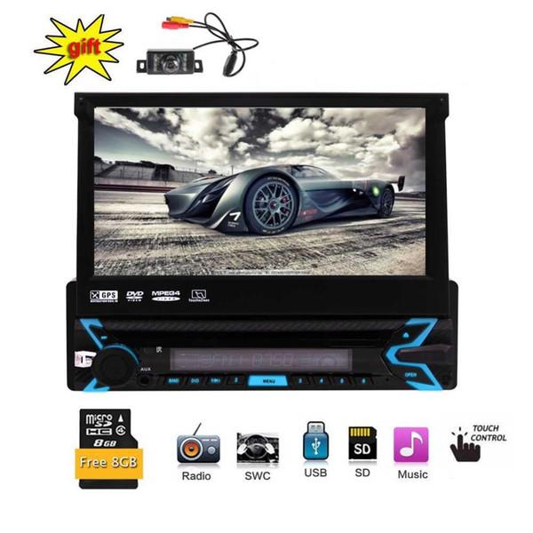 Único Stereo Din carro com 7 polegadas Digital HD Touch Screen no traço Radio Receiver Suporte Bluetooth USB / GPS painel frontal destacável SD