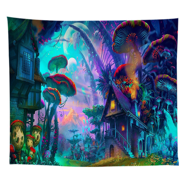 Forest Tapestry Wall Hanging Psychedelic Mushroom Decorative Wall Tapestries Art Wall Carpet Farmhouse Decor Carpet