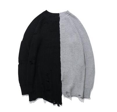 Holes Winter Fashion Sweater Mens Knaye West Vintage Hip-Hop Style oversized Stitching high quality sweater men Pullovers