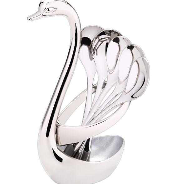 Swan Посуда Наборы Набор Вилка чая Ложка Держатель Свадеб Фрукты Посуда Набор Посуда Наборы Свадебные украшения
