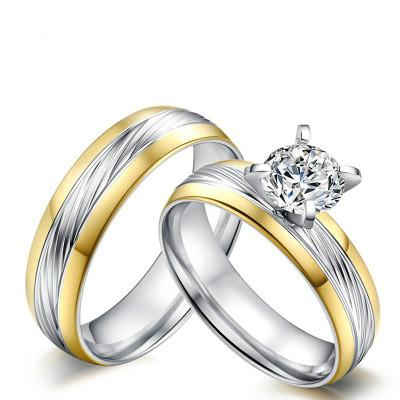 Couple Rings Princess Diamond Ring Women Wedding Engagement Ring Sets Men Titanium Steel Ring for Lover Jewelry Gifts Size 6-12 390