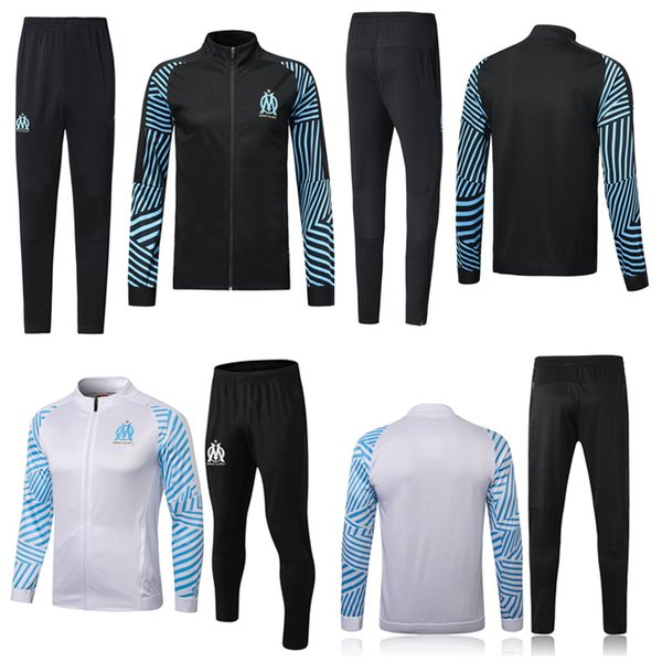 18 19 Marseille Tracksuits Adult's Thai Quality Full Zip Soccer Jacket Pants 2018 2019 OM Winter Coat Long Trousers Sports Uniforms