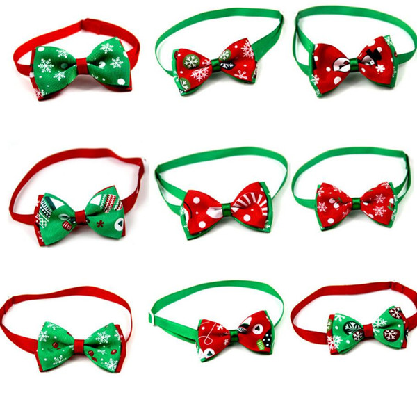 La te t pet puppy cat dog chri tma tree nowflake bow tie necklace collar bowknot necktie grooming for pet upplier decoration co tume