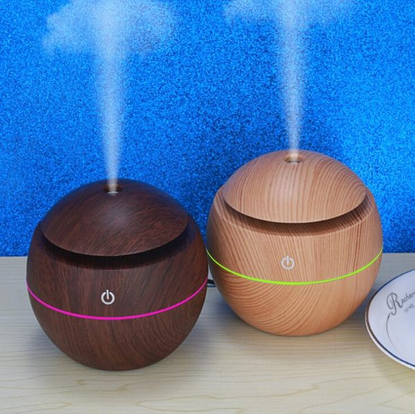 USB Wood Grain Ultrasonic Air Humidifier LED Mini Portable Essential Oils Diffuser Home Office Bedroom Oils Diffusers OOA6969