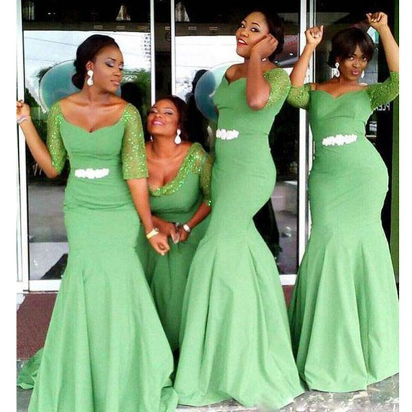Light Green Mermaid Bridesmaids Dresses With Half Sleeve Sequined Rhinestone Sashes Long Wedding Guest Gowns Satin Africa Dress