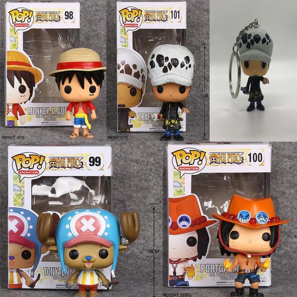 4 piezas One Piece Tony Tony Chopper 99 # Portgas D Ace 100 # Funko Pop Anime Figura Regalos del Día de San Valentín Juguetes Cumpleaños Envío Gratis