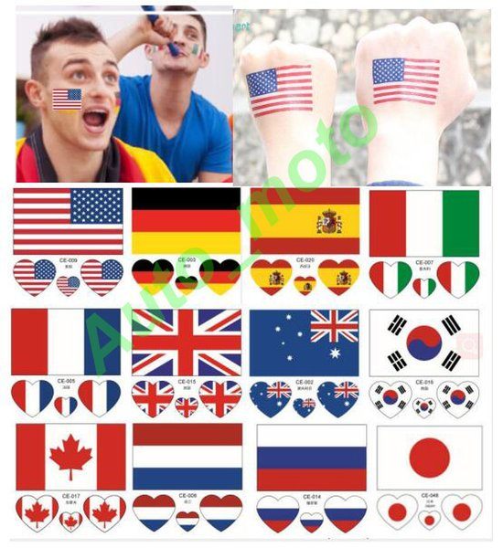National Flag Bumper car Tattoo Sticker Temporary Body Face Hand Tattoo Adhesive Stickers 6*6cm America Britain Germany France Russia