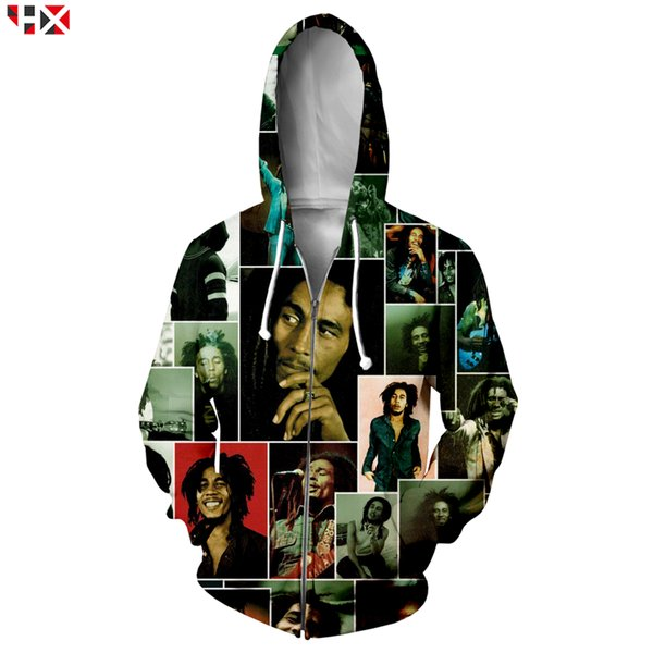 Chanteur Bob Marley Mode Hommes Zipper Hoodies Impression 3D Harajuku Style Zipper Hoodies Unisexe Harajuku Streetwear Hauts X283