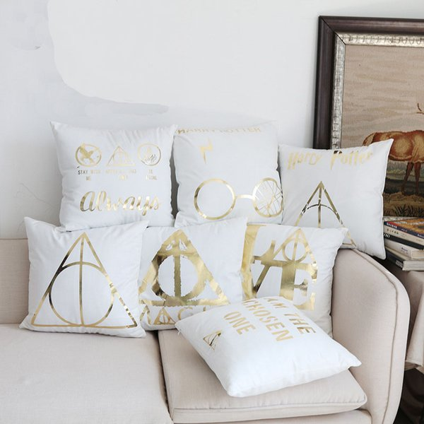 7 Styles Bronzing Harry Potter Cushion Covers Magic LOVE Nordic Home Cushion Cover Sofa Couch Decorative Soft Pillow Case