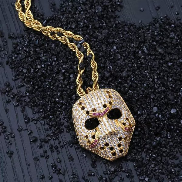 Iced out vintage colar de pingente de máscara com corrente de ouro moda hip hop jóias cubic zirconia mens colar