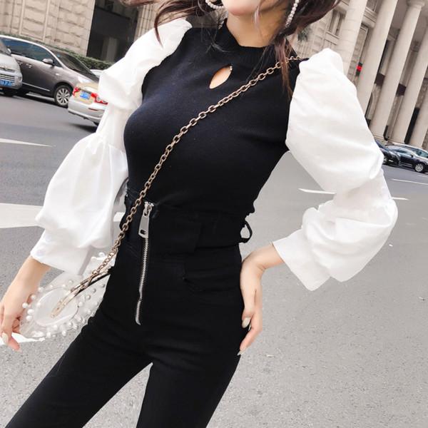 UIECOE Patchwork À Manches Longues Évider Tricoté Top Femmes Doux Version Coréenne Puff Sleeve Élégant Coloré Pull Pulls