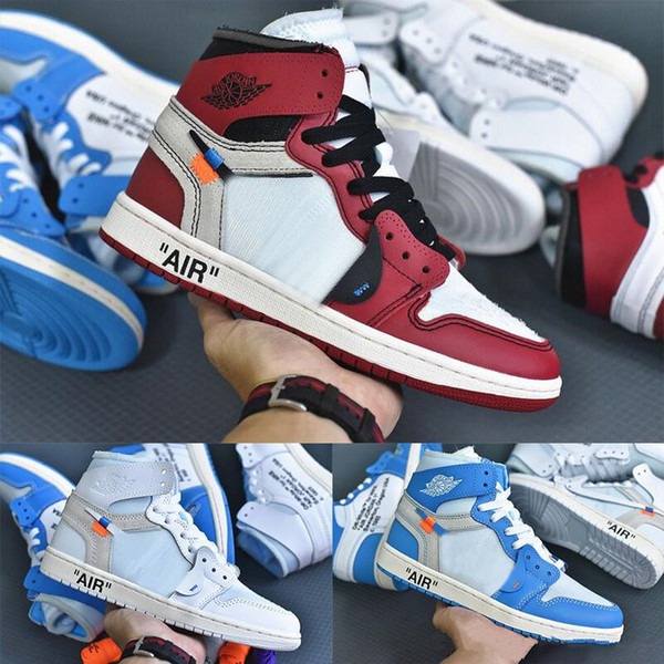 top popular Top Quality Off OG Top 1 Men Blue Red Black 1s Sneakers High Quality NUC Outdoor Trainers Mens white Basketball Shoes 36-47 2019